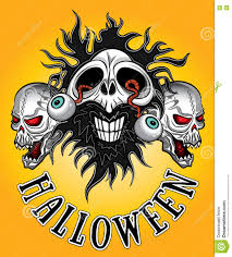 halloween zombie skull with eyes coming out design stock