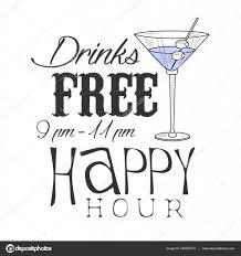 cocktail sketch bar happy hour promotion sign design template hand drawn hipster