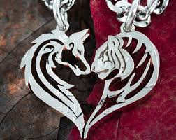 tribal tiger and wolf couples necklaces friendship jewelry