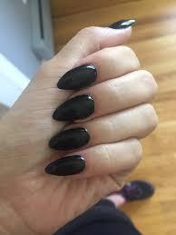 black nail polish full set of acrylic stiletto nails yelp