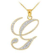 necklace pendants letters images 14k yellow gold diamond script initial letter g pendant necklace jpg