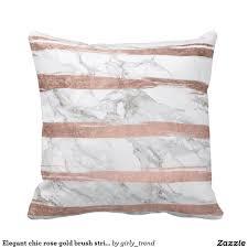 Bedroom Ideas Rose Gold Elegant Chic Rose Gold Brush Stripes White Marble Throw Pillow