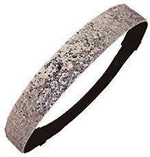 silver glitter sparkly sports headbands glitter