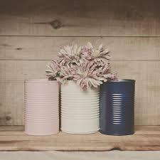 Tin Vases 3 Painted Tin Cans Pink And Navy Blue Blush Pink Wedding
