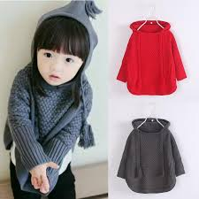 2016 knit hooded sweaters baby fall batwing