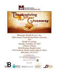 fifth annual thanksgiving dinner giveaway milwaukee health services