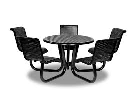 outdoor chair with table attached outdoor table with attached chairs plastisol coated commercial