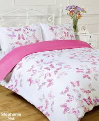 stephanie reversible pink white butterfly single bed size duvet