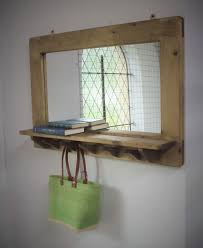 Wood Mirror Frame Handmade Mirror With Shelf U0026 5 Hooks Wooden Frame Natural Eco