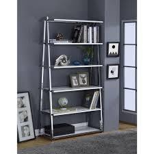 white leaning bookshelf bookcases u0026 standing shelves compare