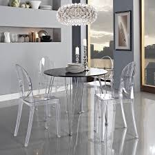 Lucite Dining Chair Furniture Small Dining Room With Black Round Dining Table With