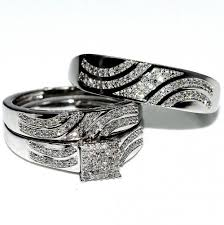 wedding trio sets his and rings trio wedding set white gold 0 4cttw