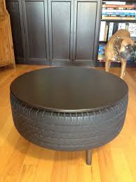 furniture recycled tire coffee table alongside circle wooden top