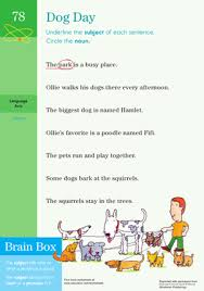 dog day identifying subject in a sentence worksheet education com
