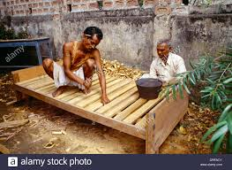 Bed Making Wooden Bed Making Assam India Stock Photo Royalty Free Image