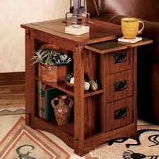 furniture end table with attached lamp and magazine rack in with