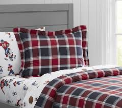 organic arena plaid duvet cover pottery barn kids