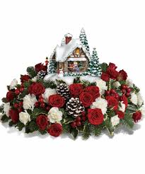 kinkade u0027s a kiss for santa christmas floral arrangement in rowland