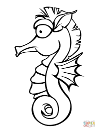 seahorse and seahorse babies coloring page free printable