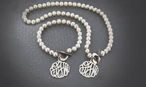 monogram charm monogram pearl jewelery groupon goods