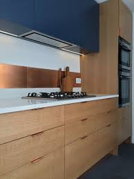 how to paint oak veneer kitchen cabinets cooper splashback with blue cabinets and spray lacquered