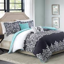 Teen Queen Bedding 5pc Adorable Teen Black Teal Damask Full Queen Comforter Set