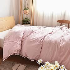 Duvet Size Amazon Com Pom Poms Fringe Cotton Duvet Cover Meaning4 Pink Twin