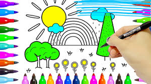 coloring pages rainbow tree sun flower cloud to learn colours