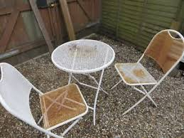 Garden Bistro Chairs 3 Metal Patio Garden Bistro Set For 2 Folding Chairs And