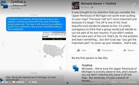 up michigan map update york based ticket company fails to include the