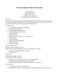 Banker Resume Universal Resume Objective Free Resume Example And Writing Download