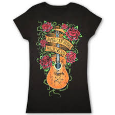 willie nelson guitar tattoo black ladies juniors graphic tshirt