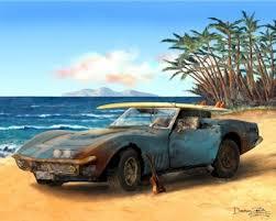 68 stingray corvette corvette stingray automotive automobilia print poster painting
