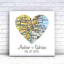wedding gift map map heart personalized wedding gift gallery canvas define