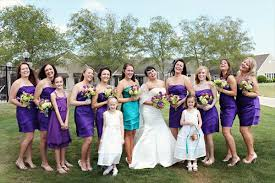 purple and turquoise wedding bridesmaids in purple of honour in turquoise the merry