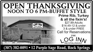 open thanksgiving log inn rock springs wy