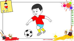 how to draw a boy playing soccer easy u0026 slowly step by step for