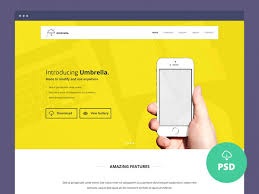 umbrella app landing page psd template free download