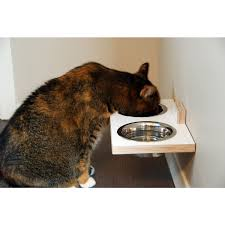 Wall Mounted Cat Perch Chow Meow Feed And Water Station