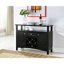 console table with wine storage amazon com kings brand furniture black wood wine rack breakfront