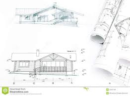 Blue Prints House by Outline Sketch Of House With Blueprints Stock Photo Image 55457192