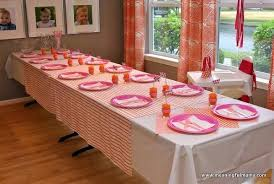 Pink Table L 1st Birthday Table Decorations Pink And Orange 1