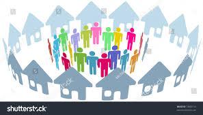 neighborhood home people social network meet stock vector 73092115