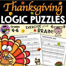 thanksgiving logic puzzles by gems teachers pay teachers