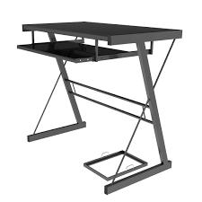 Metal And Glass Computer Desk Ryan Rove Becker Metal And Glass Computer Desk In Black