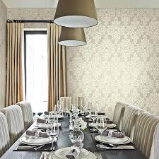 Wallpaper In Dining Room by Traditional Damask Wallpaper In Grey And Neutrals Design By