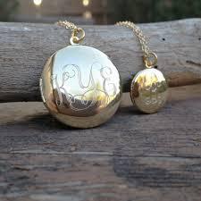 monogram locket engraved monogram large locket necklace squared