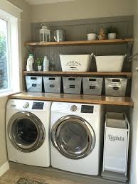 Ideas For Laundry Room Storage by Laundry Room Makeover Wood Counters Walmart Tin Totes Pull Out