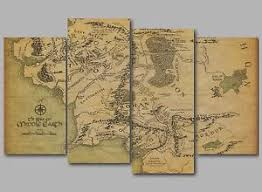 map from lord of the rings lord of the rings map of middle earth 4 panel split canvas picture
