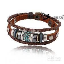charm bracelet leather images Fashion crystal charm bracelets for women style real leather jpg